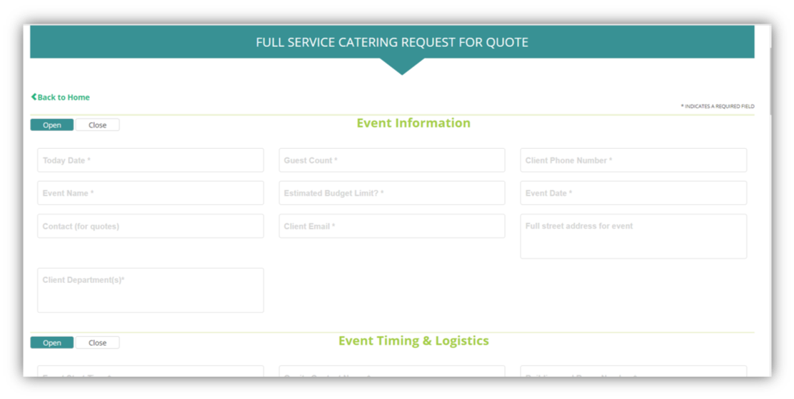 Self service catering request for quote