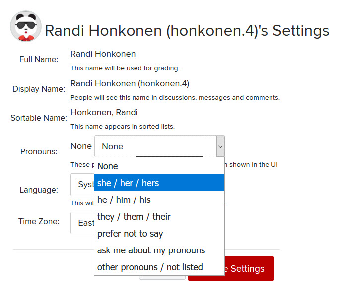 A drop-down menu with several pronoun options appears in CarmenCanvas settings
