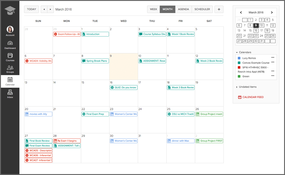 Screenshot of Ohio State student calendar in Canvas.