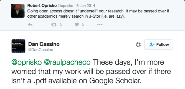 Dan Cassino tweets: These days, I'm more worried that my work will be passed over if there isn't a .pdf available on Google Scholar.