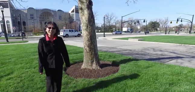 Plant pathology instructor walking near trees on Ohio State campus.