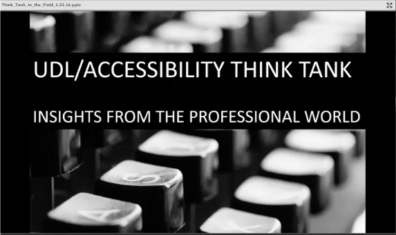 Screen shot of one of the slides from an accessibility task force online presentation.
