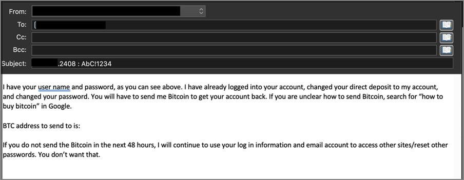 Extortion email screenshot