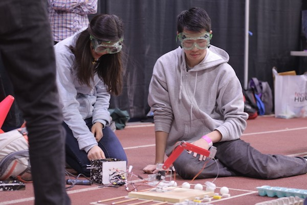 two students compete together