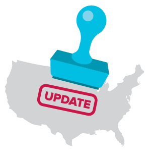 Icon of United States map with update stamp