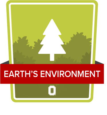 Ohio State Earth's Environment badge, green badge with stylized pine tree