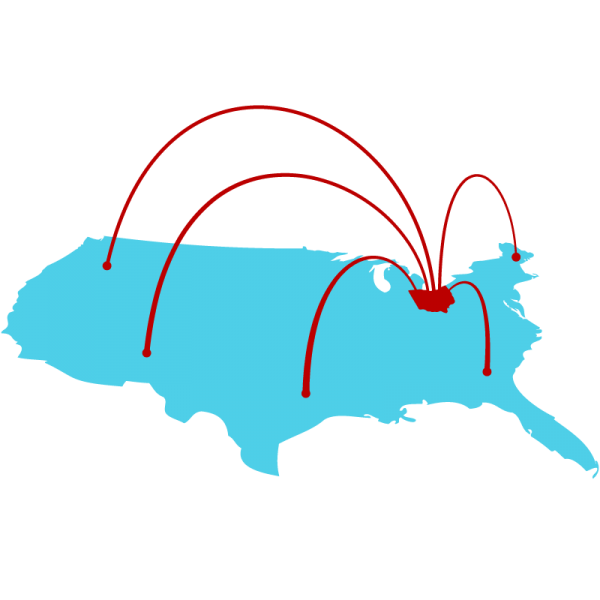 blue map of the United States with red Ohio sending arcs out to various parts of the country