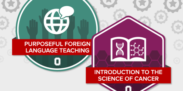 Foreign Language Teaching and Intro to the Science of Cancer badges