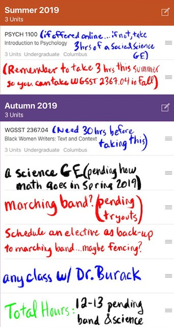 A screenshot of the discover app course planner screen. Sample classes have been written in to show the flexibility of the tool such as 'a science GE'