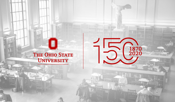 Thompson Library in the background with Ohio State Sesquicentennial logo