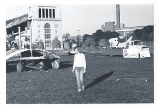 Judy Leddy in front of Ohio Stadium, 1977