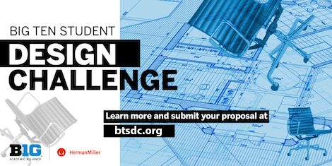 "Overlay text reads, ""Big Ten Student Design Challenge,"" with Big Ten and Herman Miller logos. Design plan graphics in the background."