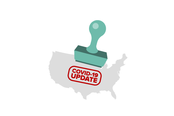"A large stamp leaves the words ""COVID-19 Update"" on a stylized map of the United States"