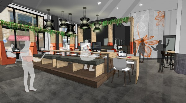 Interior rendering of the Digital Flagship Design Lab within the new Gateway COhatch space.