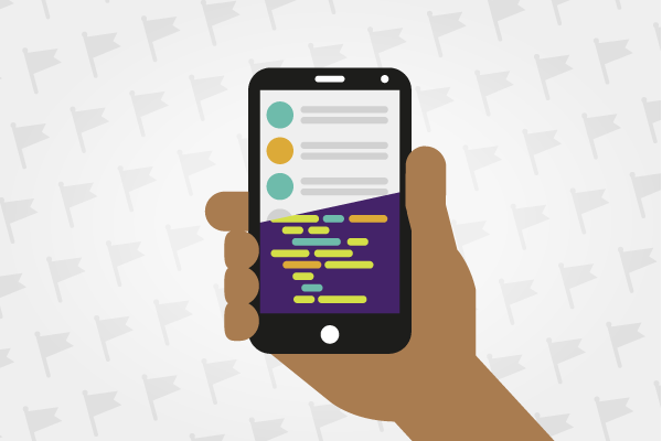 Illustration of a smartphone with half the screen showing an app and half the screen showing lines of code.