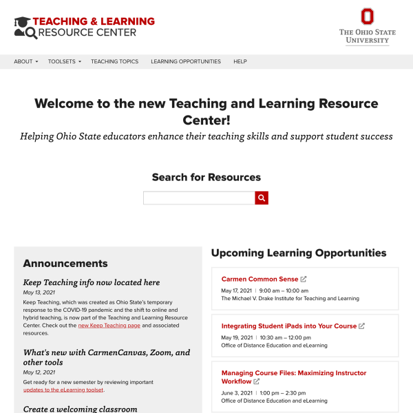Screenshot of Teaching and Learning Resource Center home page
