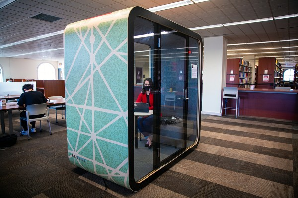 A large booth sits in the middle of Ohio State's 18th Avenue Library