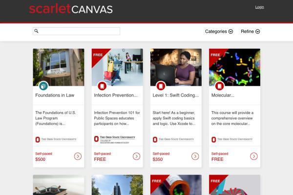 Screenshot of ScarletCanvas homepage