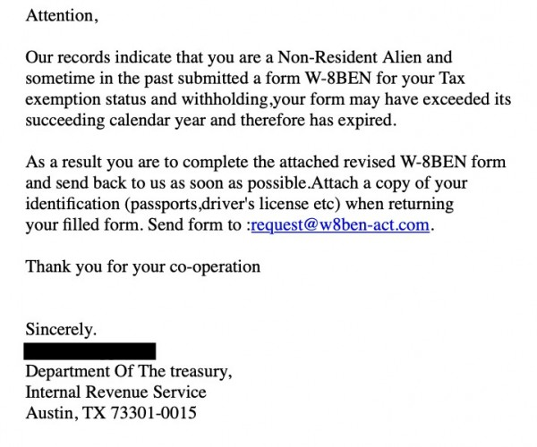 example of text used in tax scam emails