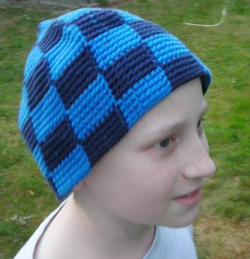 Markus Odeberg, circa 2013, in a hat crocheted by his mother