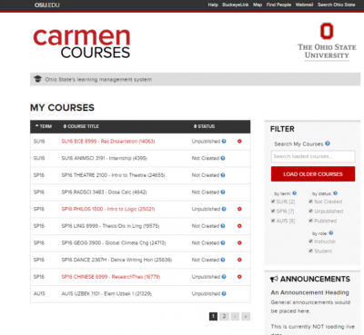 screenshot of landing page for Carmen
