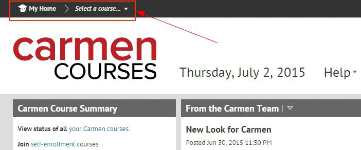 Course Selector Screen Shot