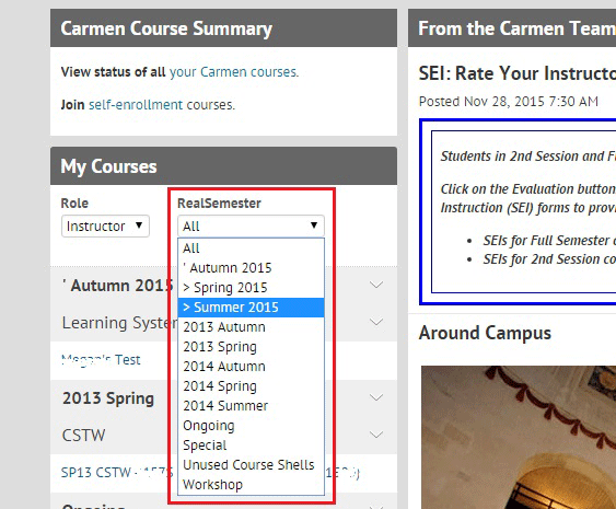 RealSemester drop-down screen shot