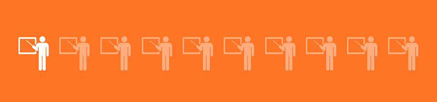 1 in 10 professors graphic on orange background